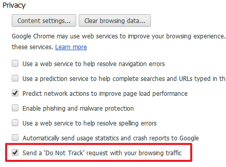 Google Chrome Privacy Settings