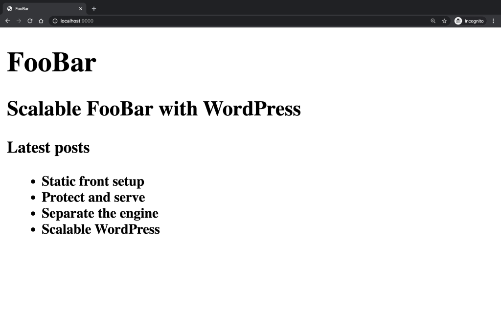 Listing WordPress articles on a static HTML page running on Nginx.